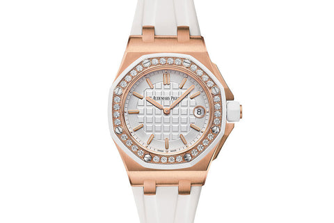 Audemars Piguet Royal Oak Offshore Quartz 37mm 18K Rose Gold on White Rubber - White Dial Diamond Bezel