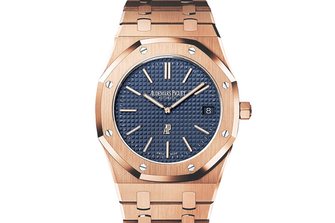 Audemars Piguet Royal Oak Selfwinding Extra Thin 39mm 18K Rose Gold on Bracelet - Blue Dial