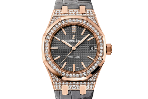 Audemars Piguet Royal Oak Selfwinding 37mm 18K Rose Gold & Diamond on Grey Leather - Grey Dial Diamond Bezel