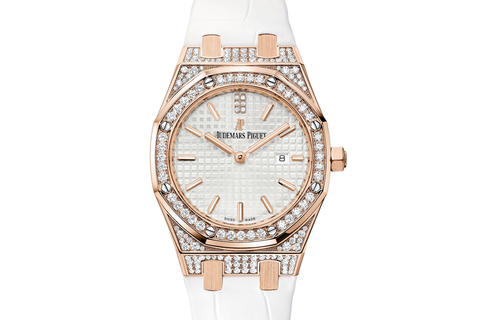 Audemars Piguet Royal Oak Quartz 33mm 18K Rose Gold & Diamond on White Leather - Silver Dial Diamond Bezel