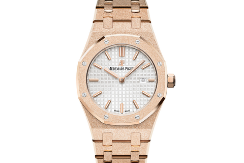 Audemars Piguet Royal Oak Quartz 33mm 18K Rose Gold Frosted on Bracelet - Silver Dial