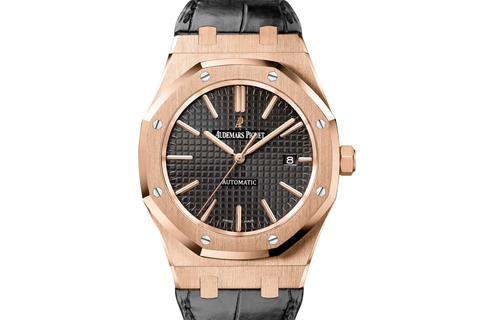 Audemars Piguet Royal Oak Selfwinding 37mm 18K Rose Gold on Black Leather - Black Dial