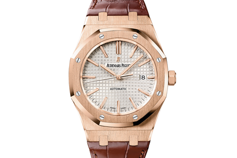 Audemars Piguet Royal Oak Selfwinding 37mm 18K Rose Gold on Brown Leather - Silver Dial