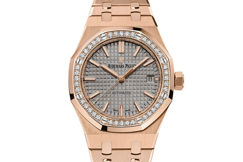 Audemars Piguet Royal Oak Selfwinding 37mm 18K Rose Gold on Bracelet - Grey Dial Diamond Bezel