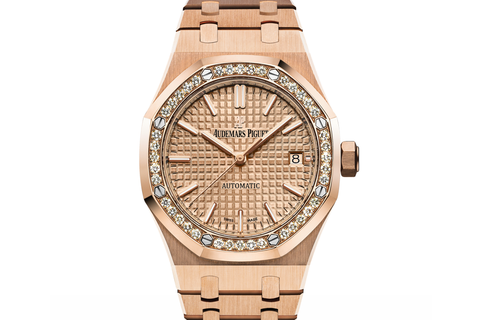 Audemars Piguet Royal Oak Selfwinding 37mm 18K Rose Gold on Bracelet - Gold Dial Diamond Bezel