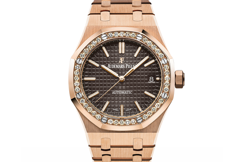 Audemars Piguet Royal Oak Selfwinding 37mm 18K Rose Gold on Bracelet - Brown Dial Diamond Bezel