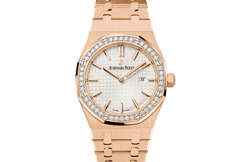 Audemars Piguet Royal Oak Quartz 33mm 18K Rose Gold on Bracelet - Silver Dial Diamond Bezel