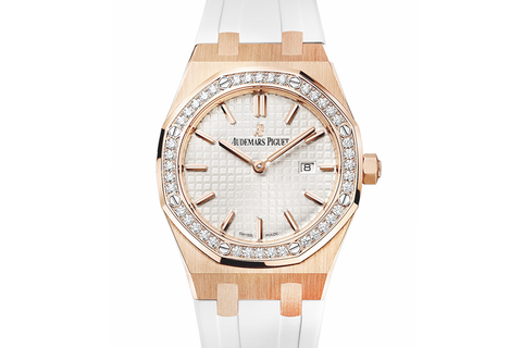 Audemars Piguet Royal Oak Quartz 33mm 18K Rose Gold on White Rubber - Silver Dial Diamond Bezel