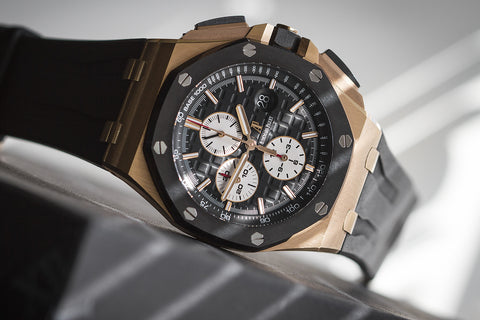 Audemars Piguet Royal Oak Offshore Chronograph 44mm 18K Rose Gold on Black Rubber - Black & White Dial
