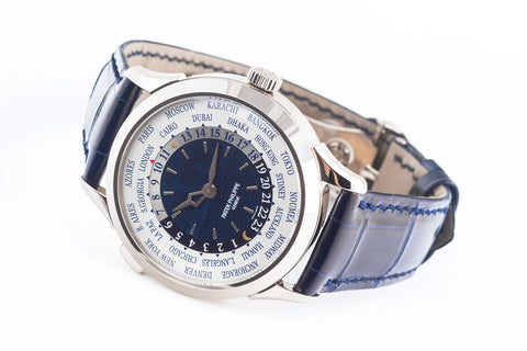 Patek Philippe Complications World Time New York Special 2017 5230G-010 - White Gold on Blue Leather - Blue & White Dial