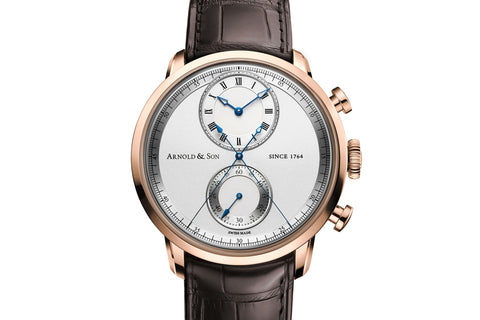 Arnold & Son HM Perpetual Moon - Stainless Steel on Black Leather - Blue Dial