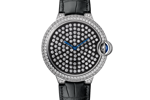 Cartier Ballon Bleu Serti Vibrant - White Gold & Diamond on Black Leather - Diamond Dial