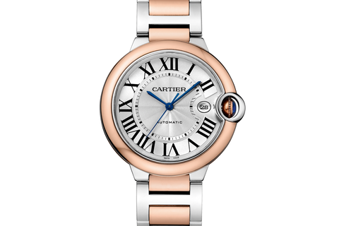 Cartier Clé de Cartier - Rose Gold on Purple Leather - Silver Dial w/ Diamond Bezel (35mm)