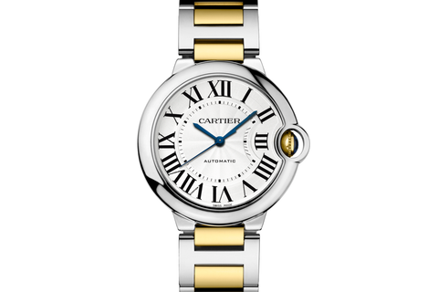 Cartier Ballon Bleu - Stainless Steel & Yellow Gold  on Bracelet - Silver Dial (36mm)