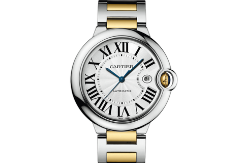 Cartier Ballon Bleu - Stainless Steel & Yellow Gold  on Bracelet - Silver Dial (42mm)