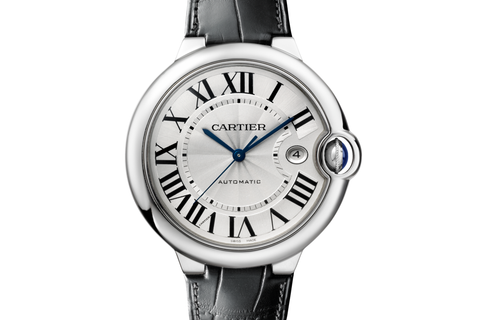 Cartier Ballon Bleu - Stainless Steel on Black Leather - Silver Dial (42mm)