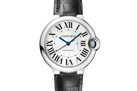 Cartier Ballon Bleu - Stainless Steel on Black Leather - Silver Dial (36mm)