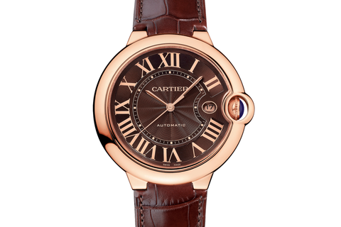 Cartier Ballon Bleu - Rose Gold on Brown Leather - Chocolate Dial (42mm)