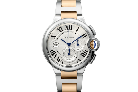 Cartier Ballon Bleu XL Chronograph - Rose Gold & Stainless Steel on Bracelet - Silver Dial