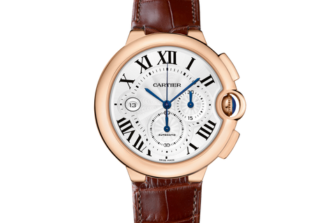 Cartier Ballon Bleu XL Chronograph - Rose Gold on Brown Leather - Silver Dial