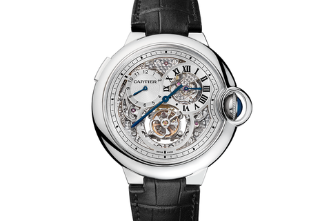 Cartier Ballon Bleu Flying Tourbillon - White Gold on Black Leather - Skeleton Dial