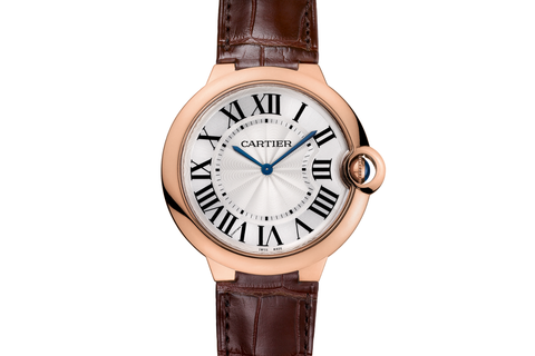 Cartier Ballon Bleu - Rose Gold on Brown Leather - Silver Dial (40mm)