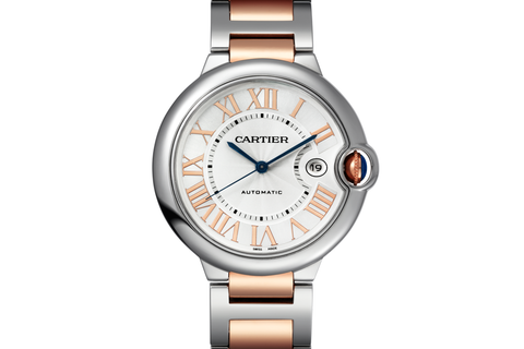 Cartier Ballon Bleu - Stainless Steel & Rose Gold on Bracelet - Silver Dial (42mm)