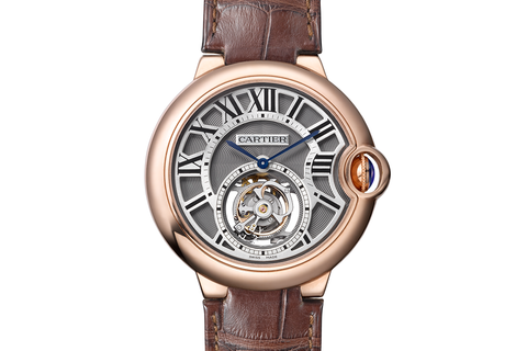 Cartier Ballon Bleu Flying Tourbillon - Rose Gold on Brown Leather - Skeleton Dial
