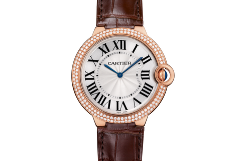 Cartier Ballon Bleu - Rose Gold on Brown Leather - Silver Dial w/ Diamond Bezel