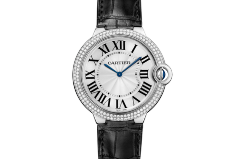 Cartier Ballon Bleu - White Gold on Black Leather - Silver Dial w/ Diamond Bezel
