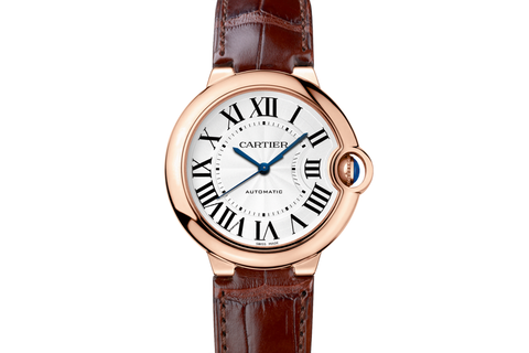 Cartier Ballon Bleu - Rose Gold on Brown Leather - Silver Dial (36mm)