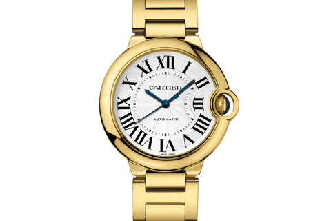 Cartier Ballon Bleu - Yellow Gold on Bracelet - Silver Dial (36mm)