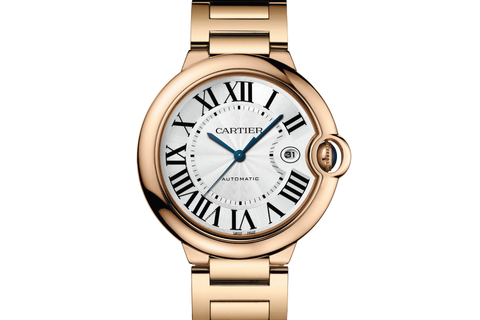Cartier Ballon Bleu - Rose Gold on Bracelet - Silver Dial (42mm)