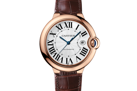 Cartier Ballon Bleu - Rose Gold on Brown Leather - Silver Dial (42mm)