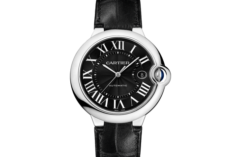 Cartier Ballon Bleu - Stainless Steel on Black Leather - Black Dial (42mm)