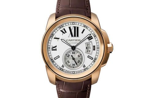 Cartier Calibre de Cartier - Rose Gold on Brown Leather - Silver Dial