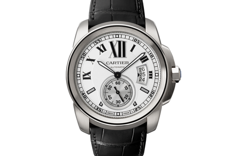 Cartier Calibre de Cartier - Stainless Steel on Black Leather - Silver Dial