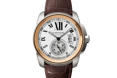 Cartier Calibre de Cartier - Stainless Steel on Brown Leather - Silver Dial w/ Rose Gold Bezel