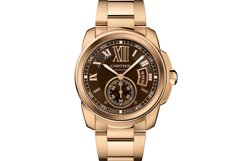 Cartier Calibre de Cartier - Rose Gold on Bracelet - Chocolate Dial
