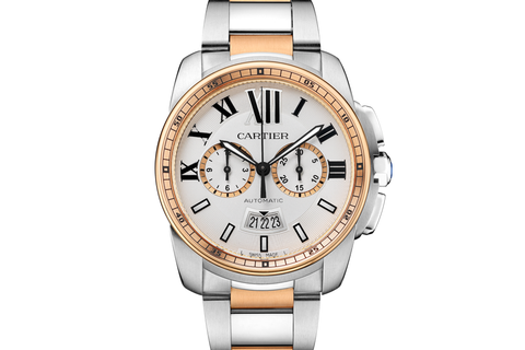 Cartier Calibre de Cartier Chronograph - Stainless Steel & Rose Gold on Bracelet - Silver Dial
