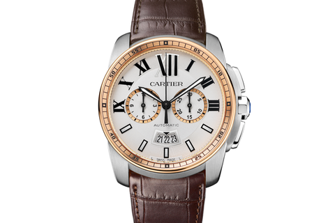 Cartier Calibre de Cartier Chronograph - Stainless Steel & Rose Gold on Brown Leather - Silver Dial