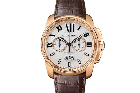 Cartier Calibre de Cartier Chronograph - Rose Gold on Brown Leather - Silver Dial