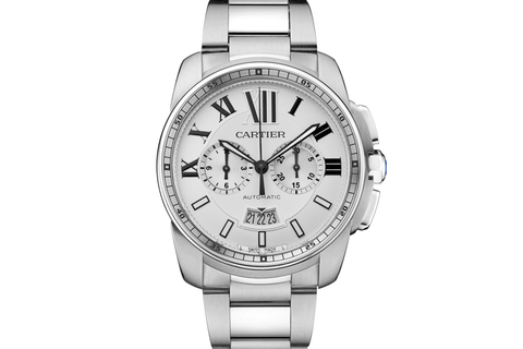Cartier Calibre de Cartier Chronograph - Stainless Steel on Bracelet - Silver Dial