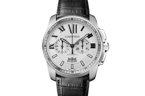 Cartier Calibre de Cartier Chronograph - Stainless Steel on Black Leather - Silver Dial