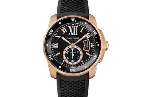 Cartier Calibre de Cartier Diver - Rose Gold on Black Rubber - Black Dial