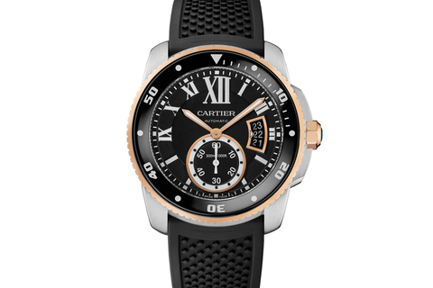 Cartier Calibre de Cartier Diver - Stainless Steel & Rose Gold on Black Leather - Black Dial