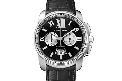 Cartier Calibre de Cartier Chronograph - Stainless Steel on Black Leather - Black Dial