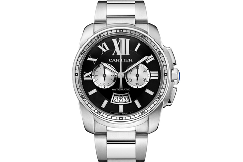 Cartier Calibre de Cartier Chronograph - Stainless Steel on Bracelet - Black Dial