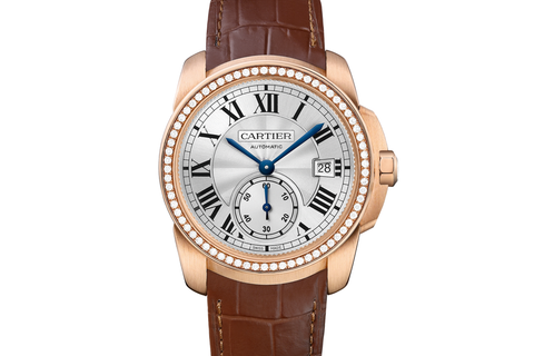 Cartier Calibre de Cartier - Rose Gold on Brown Leather - Silver Dial w/ Diamond Bezel