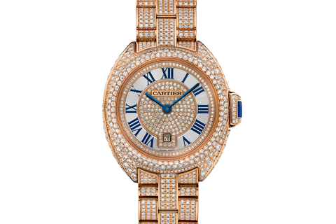 Cartier Clé de Cartier - Rose Gold & Diamond on Bracelet - Silver Dial (31mm)